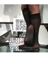 Used Mens Sheer Socks Glossy Nylon Raised Line Pattern OTC - C272 - $5.00