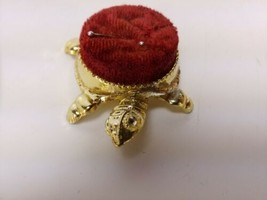 Vintage pin cushion Turtle gold - $19.82