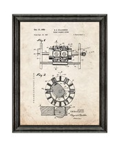 Rotary Doughnut Cutter Patent Print Old Look with Black Wood Frame - $24.95+