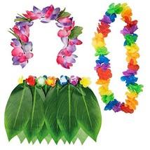 TRIXES Hawaiian Fancy Dress 3 Piece Collection – Hula Leaf Skirt - Flowe... - $1.97
