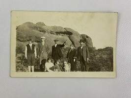 Cave In Mountain Family Pointing Desert Vintage B&W Photograph Snapshot ... - $14.84