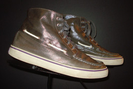 Sperry Top-Sider Silver Metallic High Top Sneaker Sz. 7.5M EXCELLENT! - $22.27