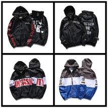 Men's Bomber Jacket Coat Letter Emboridary Mens Hip Pop Jacket Pilot Bom... - $46.92
