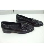 Amalfi Black Croc Leather Shoes Casual Flats Loafers Slip On Tassels Ita... - $29.65