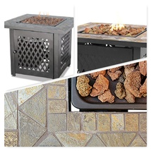 Outdoor Fire Pit Garden Deck Patio Furniture Square Fireplace Heater Pro... - $278.88