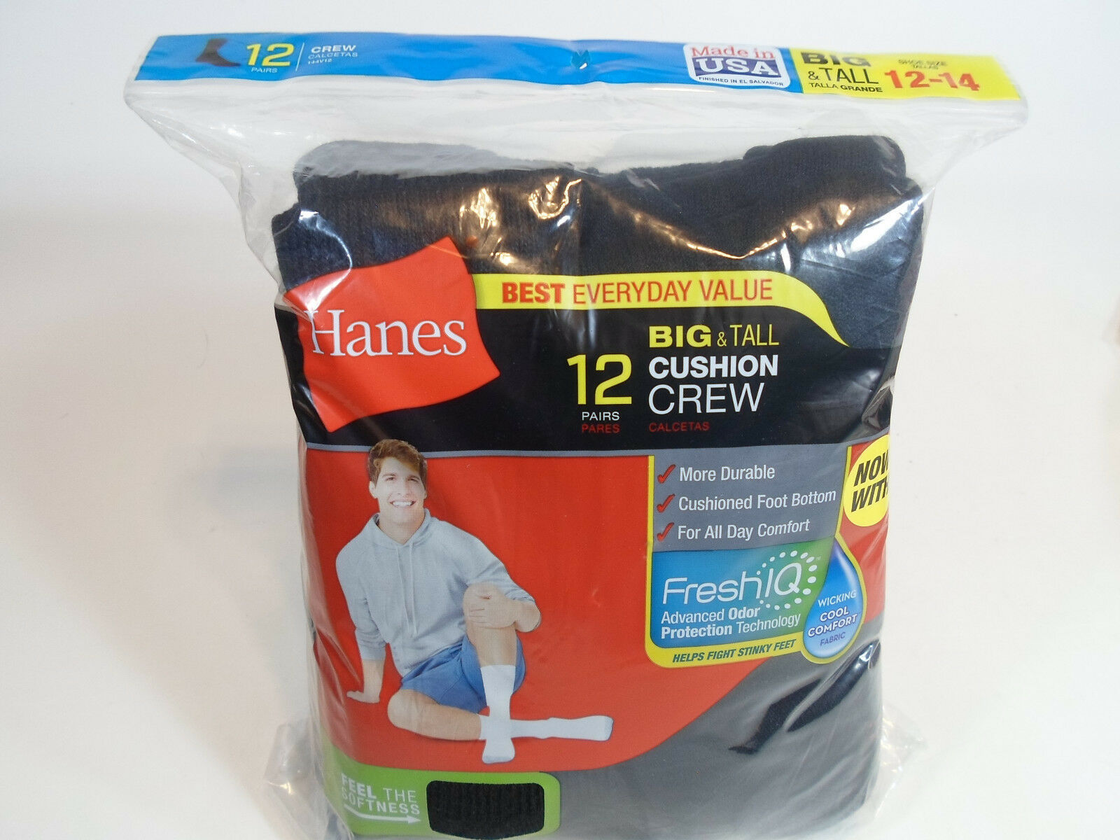Primary image for 12 PAIR BIG TALL HANES Cushion Crew Socks Mens Shoe Size 12-14 Black Long