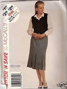 Primary image for McCall's Pattern #4580 Misses' Unlined Vest & Skirt
