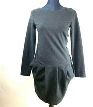 Boden Dark Gray Dress Sz 2R Long Sleeve Pockets Midi  - $23.33