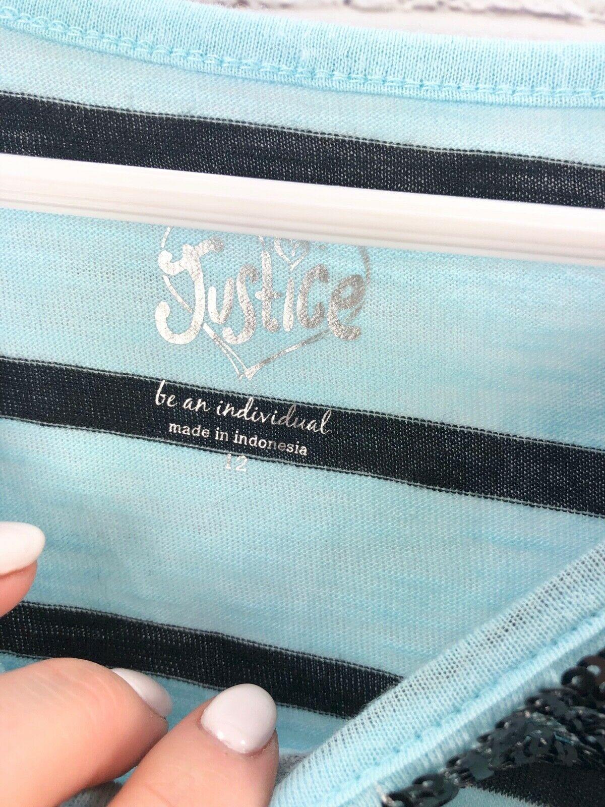 JUSTICE Beaded Stripe Top + Black Capri Pants Girls Size 12 Outfit Set image 4