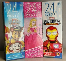 Disney Princess Paw Patrol Marvel Super Hero 3 Puzzles Lot - Each 24 Pie... - $15.42