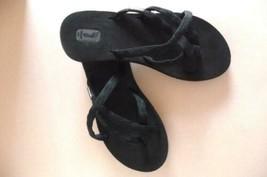 TEVA SANDALS size 6 Flip Flop thong BLACK -EXCELLENT - $21.78