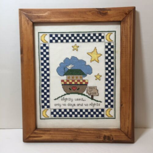 "Primary image for Noah's Ark Finished and Framed Cross Stitch 12"" x 14"" Slightly Used..."