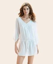Vi X Swimwear Romance Solid White Caftan V-NECK Sexy Brazilian COVER-UP Nwt $188 - $88.00