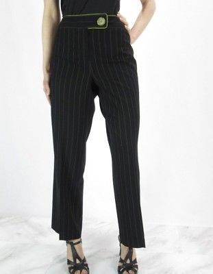 LARRY LEVINE Black Dress Pants w/ Green Stripes NWOT 8 Petite