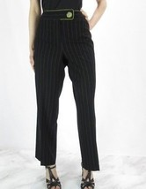 Larry Levine Black Dress Pants w/ Green Stripes Nwot 8 Petite - $5.13