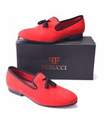 FERUCCI red custom-made Velvet Slippers loafers with black tassel davucci - $139.99