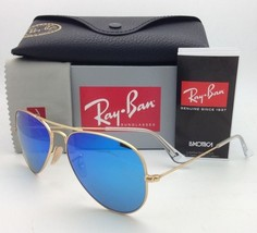 New Ray-Ban Sunglasses RB 3025 Large Metal 112/17 55-14 Gold w/Multi-Blue Mirror