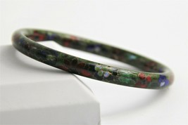 "7"" VINTAGE ESTATE EARLY 1900's CHINESE CLOISONNE GREEN ENAMEL BANGLE BRA... - $25.00"