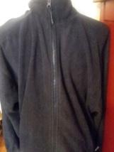 Mens Fleece Jacket M Medium Black Ivy Crew Classics Zip Front 2 Pocket - $11.99