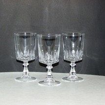 "3 VINTAGE CRYSTAL SHERRY GLASSES 4 7/8"" SMALL GOBLET CORDIAL LIQUEUR FAN... - $14.99"