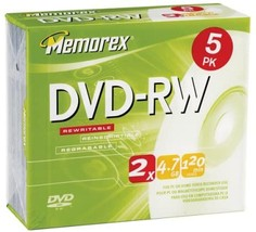 Memorex 4.7GB DVD-RW Media (5-Pack) (Discontinued by Manufacturer) - $8.99