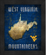 """West Virginia Mountaineers """"Retro College Logo Map"""" 13x16 Framed Print  - $39.95"""