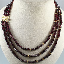 18K YELLOW GOLD THREE WIRES MULTI STRAND NECKLACE WITH DISC GARNET, GOLD SPHERE image 3
