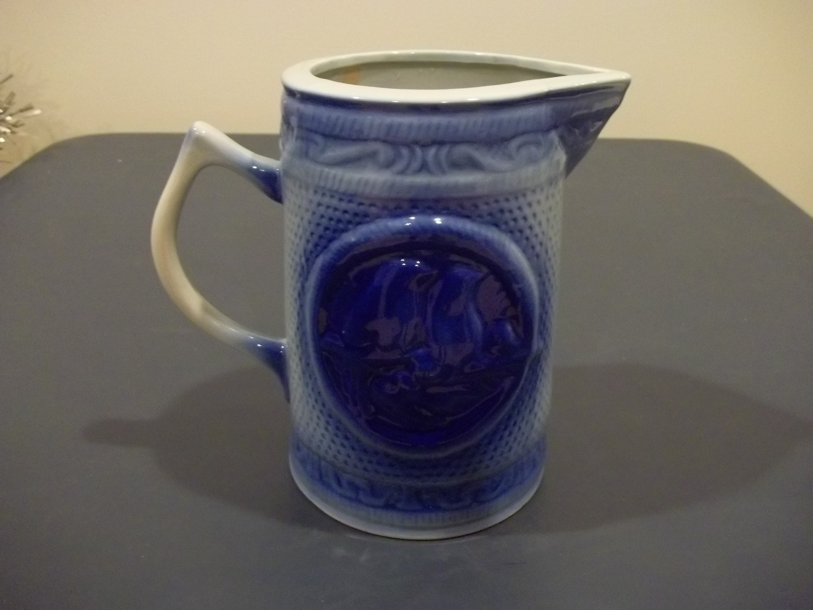 Primary image for Very Nice Blue Ware Milk Pitcher Featuring Two Birds Unmarked No Maker Mark