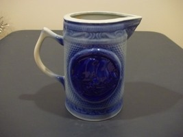Very Nice Blue Ware Milk Pitcher Featuring Two Birds Unmarked No Maker Mark - $29.99