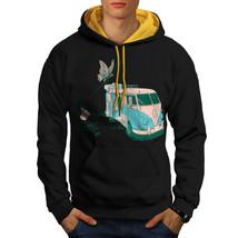 Hippie Bus Sweatshirt Hoody Vintage Van Men Contrast Hoodie - $23.99+