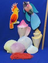 Tropical Beach Party Decorations Honeycomb Bird Fish Net 3 D Sea Shells ... - $12.86