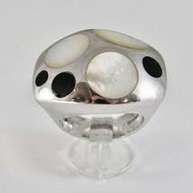 Silver Ring 925 Rhodium to Fscia with Nacre White and Enamel Black image 1