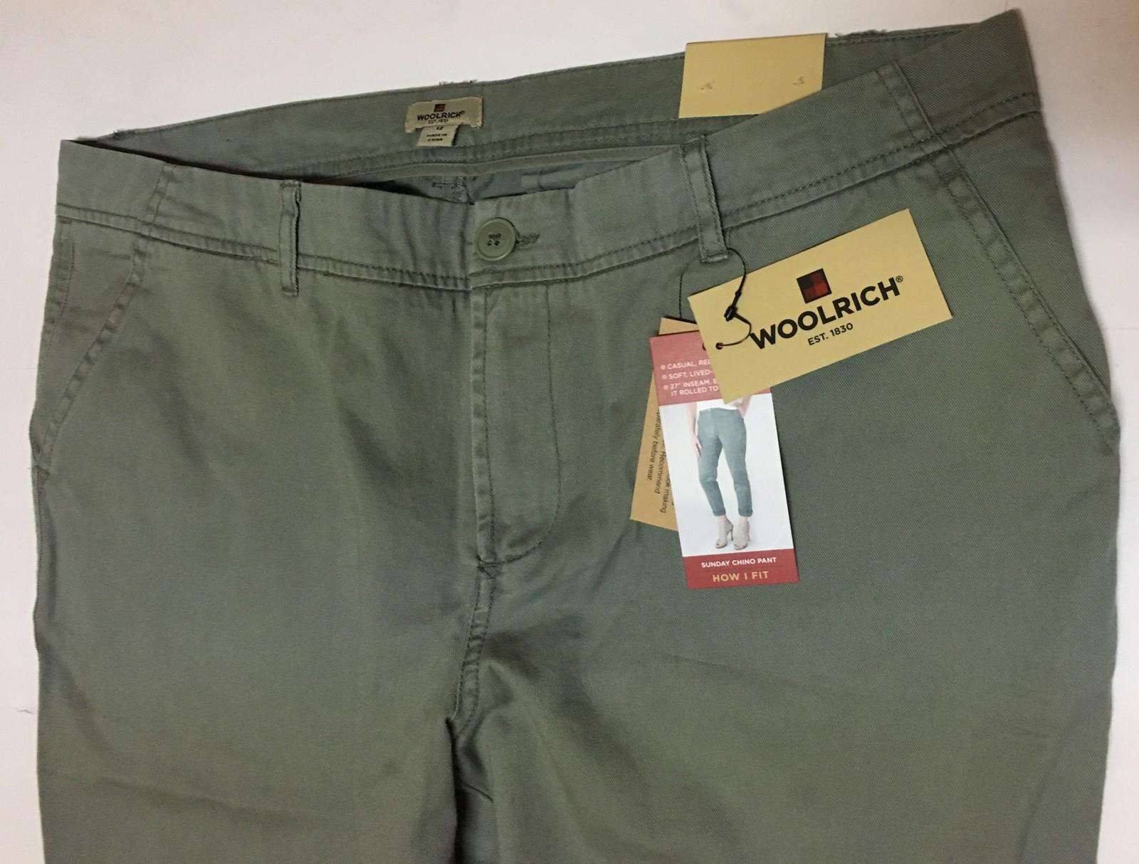 Woolrich Sunday Chino Pants Sz 12 Sage Green NWT