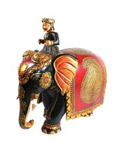 Elephant Rider Statue Wooden Hand Painted Work Decorative Old Collectibl... - $332.50