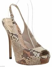 GUCCI Platform Sandal Brown Leather Peep Toe Ankle Strap Snakeskin 37 - $280.25