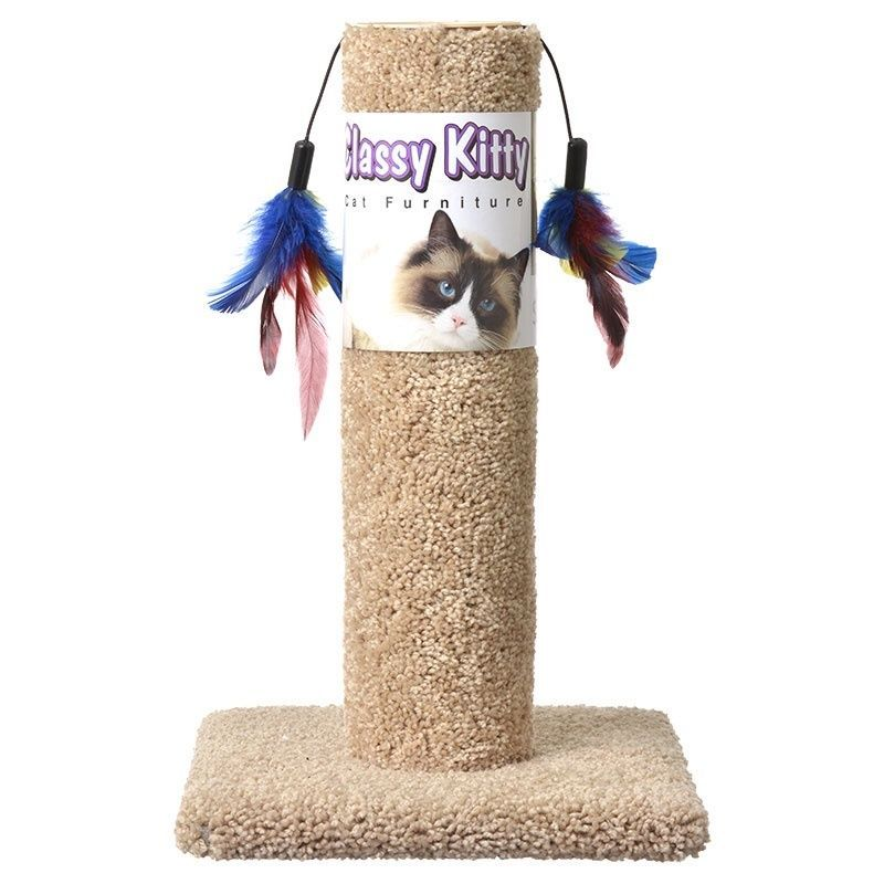 "CLASSY KITTY CAT SCRATCHING POST WITH TWO FEATHERS FUN 17 1/2"" HEIGHT EXERCISE"