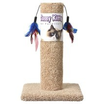 "CLASSY KITTY CAT SCRATCHING POST WITH TWO FEATHERS FUN 17 1/2"" HEIGHT EX... - £19.02 GBP"