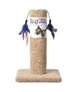 "CLASSY KITTY CAT SCRATCHING POST WITH TWO FEATHERS FUN 17 1/2"" HEIGHT EX... - £18.84 GBP"