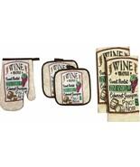 5 pc SET: 2 POT HOLDERS,1 OVEN MITT & 2 TOWELS, WINE & GRAPES, WINE MENU... - $13.85