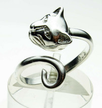 Sterling Silver Cat Head and Tail Torque Ring Handmade by Welded Bliss - Variabl - $36.26