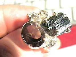 BLACK TOURMALINE herkimer diamond ROUGH NATURAL 925 Sterling Silver Ring... - $54.99