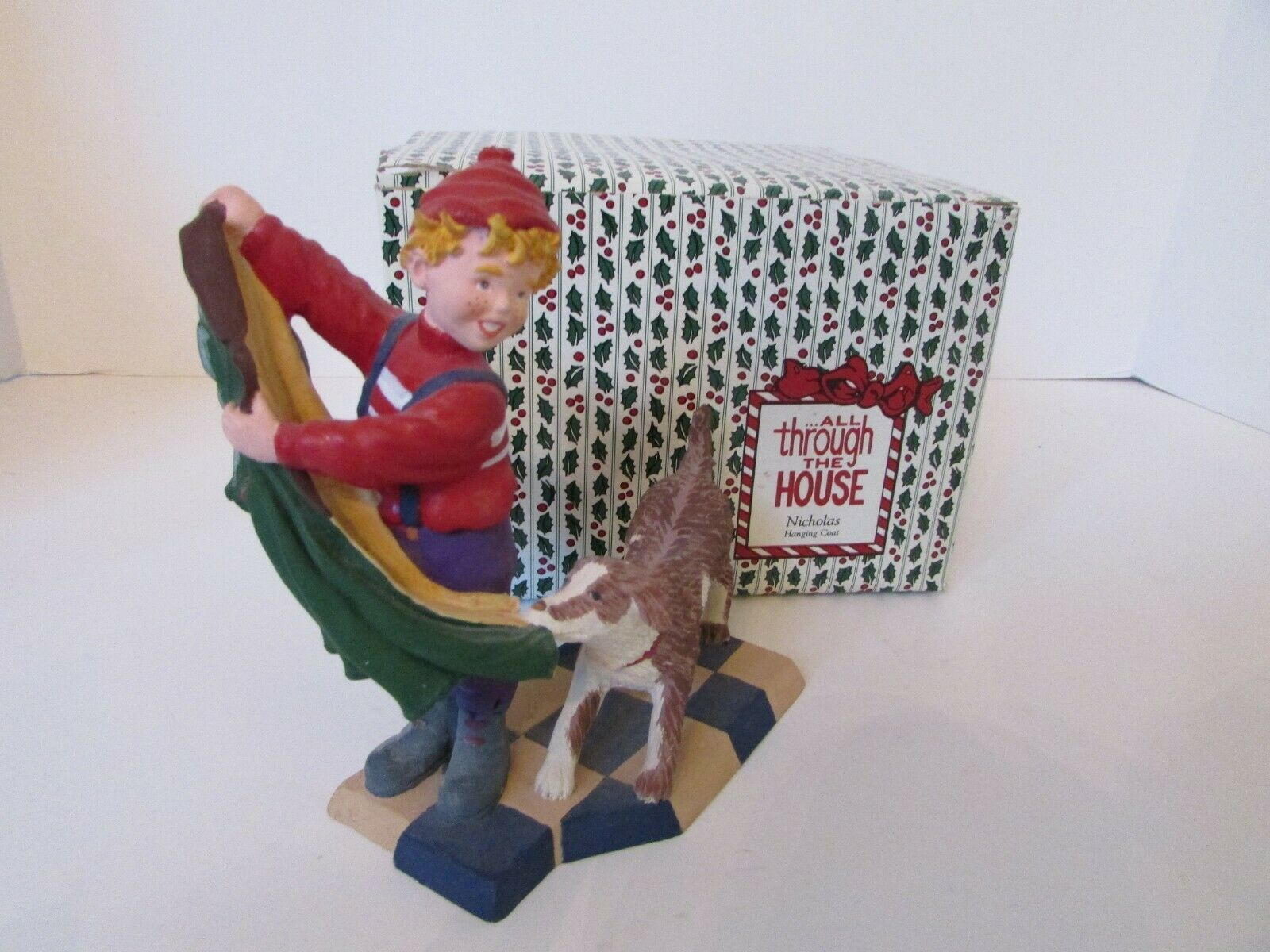 "Primary image for DEPT 56 93114 FIGURINE NICHOLAS HANGING COAT ALL THROUGH THE HOUSE 5.75"" BOXED"