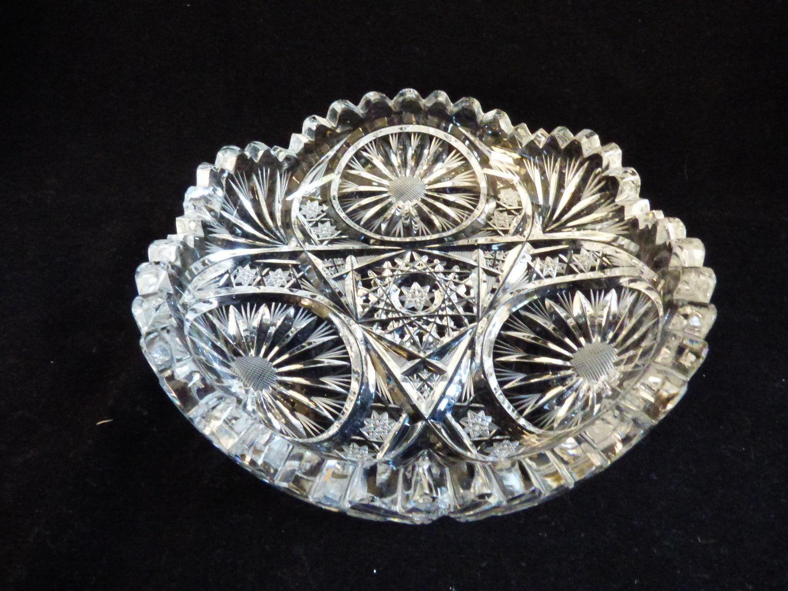 Antique VTG American Brilliant Period deep Cut Crystal round Bowl dish - $41.18