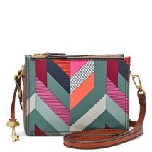 Fossil Campbell Chevron Blue PVC Zipper Closure Cotton Interior Crossbody  - $259.99