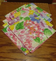 8 PASTEL FLOWERED NAPKINS, 18 INCHES SQUARE - $12.99