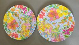 "Melamine Dinner Plates Tropical Pineapple Hibiscus Floral 2 pc set 10.5""... - $437,81 MXN"