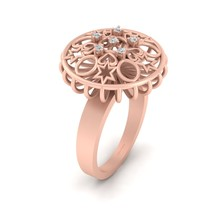Solid 10k Rose Gold Engagement Ring For Her Diamond Star and Hearts Ring Womens - $929.99