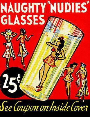Primary image for 1940's - Naughty Nudies Glasses - Matchbook Advertising Poster
