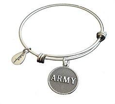 Bella Ryann Army Silver Charm Bangle Bracelet