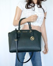 Nwt Michael Kors Ciara Large Top Zip Satchel Leather Shoulder Bag Black - $138.58
